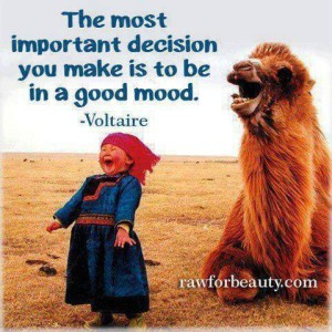 The most important decision you make is to be in a good mood. -Voltaire