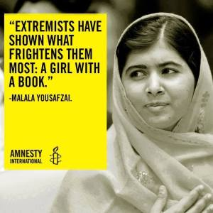 """Extremists have shown what frightens them most: A girl with a book."" -Malala Yousafzai"