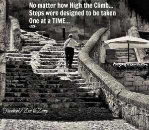 """No matter how high the climb... Steps were designed to be taken One at a Time..."""