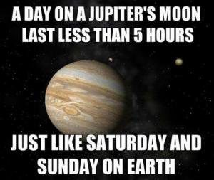 A day on a Jupiter's moon lasts less than 5 hours--just like Saturday and Sunday on Earth.